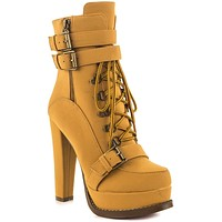 """Luichiny Storm Chase 5"""" Block Heel Ankle Boot Lace Up Buckle Platform"""