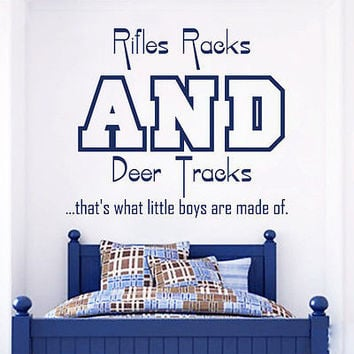 Wall Decal Quotes Rifles Racks And Deer Tracks Bedroom Vinyl Sticker Decor MR689
