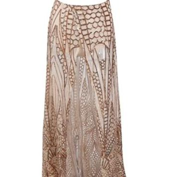 Sparkle Baby Nude Gold Geometric Sequin Strapless Crop Top Split Front Two Piece Maxi Dress