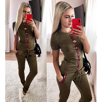 GUCCI Fashion Women Casual Stripe Bee Short Sleeve Top Pants Sport Set Two Piece Army Green