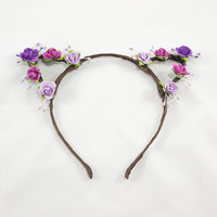 Purple Floral Crown Cat Ears - Cat Ears Headband - Bohemian Cat Ears -  Custom Cat Ears - Kawaii Cat Ears - Adult Cat Ears - Girl Cat Ears