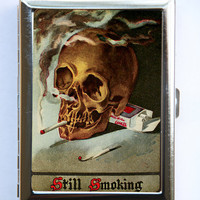 Smoking Skull Cigarette Case Wallet Business Card Holder punk Goth Psychobilly hipster odd SUMMER SALE