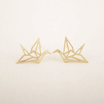 Earring New Fashion Trendy Gold Silver Pink Origami Crane Animal Stud Earrings for Women Copper Alloy Jewelry ED037