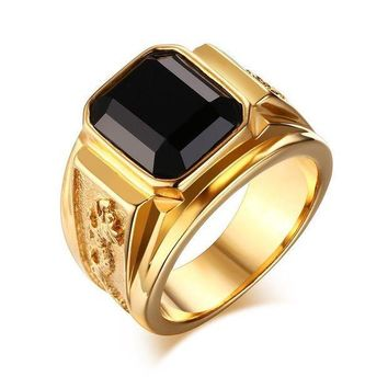 CREYCI7 YEACI Retro Style Stainless Steel Dragon Totem Ring For Men Glass Stone Party Wedding Rings 5 color Free Fhipping RC-183