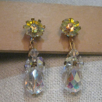 Vintage Gold Tone A.B. Floral Crystal Beaded Stud and Dangle Clip Earrings, post mid-century