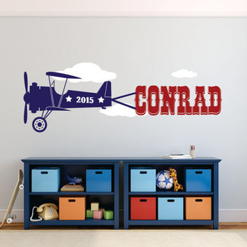 Airplane Wall Decal, Airplane Nursery Decal, Airplane Decor, Airplane Baby Shower, Airplane Wall Decal,  Airplane Nursery Name
