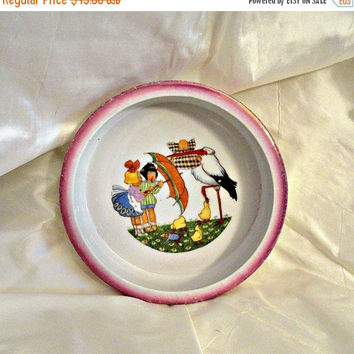 Child Baby Stork Porcelain Dish Bowl Germany 1920