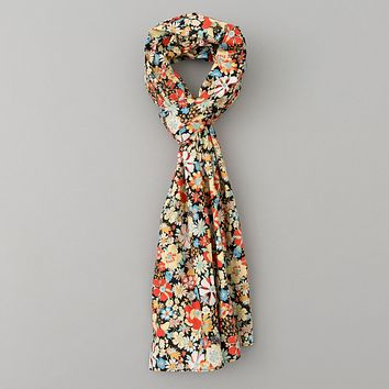 Psychedelic Floral Print Scarf, Black