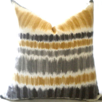 Decorative Grey/Gold Ikat pillow cover, Toss pillow, Throw pillow,