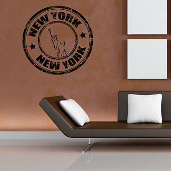 NY NEW YORK STAMP BIG APPLE NY CITY WALL VINYL STICKER DECAL MURAL ART C13