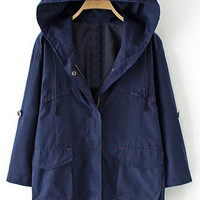 Navy Blue Hoodie Trench Coat