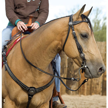 Weaver Back in Black Browband Headstall and Western Headstalls  | EQUESTRIAN COLLECTIONS.COM