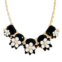 Black & White Floral Statement Necklace