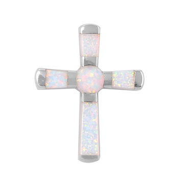 """Sterling Silver Lab White Opal Cross Pendant 29MM (Free 18"""" Chain)"""
