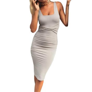Solid Sleeveless Tight Bodycon Dresses