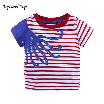 Boys Summer Clothes Children T Shirt Cotton Tops Kids Clothing Animal Striped Pattern Baby Girls Blouse