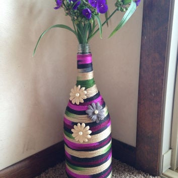 Wine bottle vase, yarn decor, flower vase, unique home decor