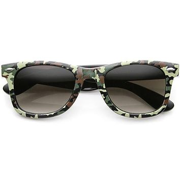 Outdoor Sports Camouflage Pattern Horned Rim Sunglasses 9624