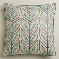 Blue Sprouts Throw Pillow
