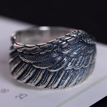 Genuine 925 Sterling Silver Biker Rings For Men And Women Vintage Thai Silver Feather Rings Resizable Punk Jewelry