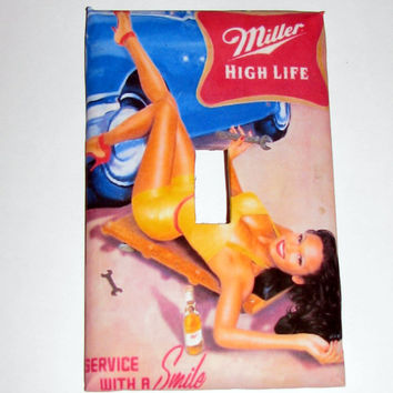 Light Switch Cover - Light Switch Plate Miller High Life Pin Up Girl Vintage Ad