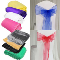 10PCS Shimmering Organza Sash Bow Wedding Galloon Party Chair Decoration = 1932853252