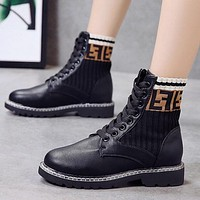 FENDI Fashion Women Casual Double F Letter High Top Inner Heighten Flat Shoes Sneakers Black I13723-1