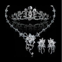 [29.99] Stylish First-class Austrian Rhinestone & Alloy Wedding Jewelry Set,Including Necklace,Tiara And Earrings - Dressilyme.com