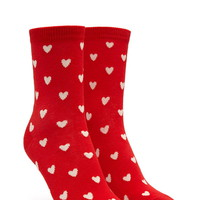 Heart Pattern Crew Socks