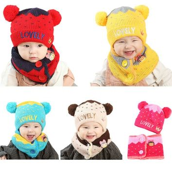 Toddler Infant Baby Winter Knitted Hat Fluffy Dual Pompom Ball Ear Contrast Color Beanie Cap Letter Crown Embroidery Cuffed With