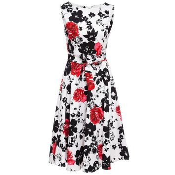 Vintage Round Collar Sleeveless Floral Print A-Line Pleated Midi Dress for Women