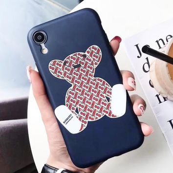Burberry New fashion more letter bear print couple protective cover phone case