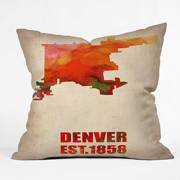 Naxart Denver Watercolor Map Throw Pillow
