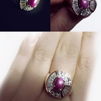 Vintage ring, star ruby ring, pink star ruby, victorian style ring, white topaz, vintage jewelry, estate jewelry, ruby ring