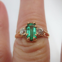 Reserved Natassia  Payment 1 Antique Victorian  natural emerald & old european cut Diamond engagement ring   18ct gold