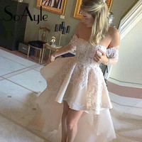 2016 Short Mini White Long Sleeve Cocktail Dresses Off Shoulder Sequined robe de Cocktail Party Dresses vestido de festa curto