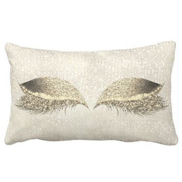 Gold Sepia Glitter White Glam Make Up Gold Sequin Lumbar Pillow