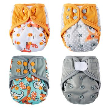 4Pcs U PICK Happy Flute Newborn Baby Diaper NB Pocket Cloth Diapers Bamboo Charcoal Inner Waterproof PUL Outer Double Gussets
