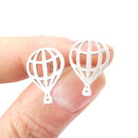 Miniature Hot Air Balloon Outline Cut Out Shaped Stud Earrings in Silver   DOTOLY