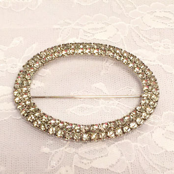 Vintage Faux Diamond Rhinestone CZ Bridal Brooch Fur or Scarf Pin Clear Rhinestones in Silver Tone