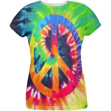 PEAPGQ9 Peace Sign Tie Dye All Over Womens T Shirt