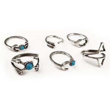 15-19mm Vintage Set 6 pcs Boho upper joint  ring