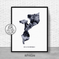 Mozambique Print, Travel Map, Mozambique Map Print, Travel Decor, Travel Prints, Living Room Wall Art, Office Pictures, Art Print Zone