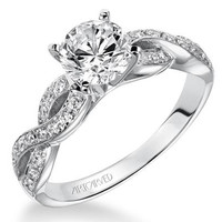 "Artcarved ""Gabrielle"" Diamond Engagement Ring Featuring Bypass Twist"