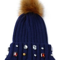 Blue Faux Diamond Embellished Pom Pom Beanie Hat