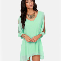 Mint Green V-Neckline Loose Fitting Mini Chiffon Dress with Sleeves Slit