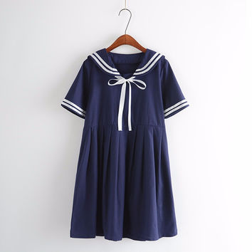 2017 autumn summer new women's 5XL dress female cotton-line sailor collar College sweet striped pure girls dress plus size