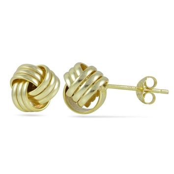 Gold Tone over Sterling Silver Plolished Love Knot Stud Earrings