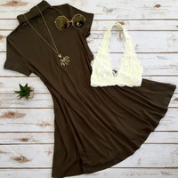 Mock Neck Potato Sack Dress in Olive