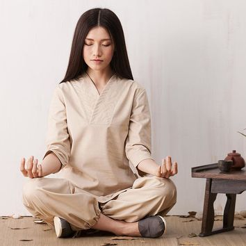 Zen Meditation Yoga Suit Loose Trousers Tops Set Tai Chi Clothing Ladies Linen Outdoor Yoga Clothes